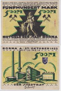 500 Mark Banknote Notgeld Stadt Borna 27.10.1922 (121092)