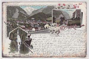 90532 AK Gruss aus Interlaken - Staubbach, Giessbach & Talansicht 1896