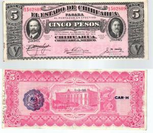 5 Pesos Banknote Mexiko 1915 (107263)