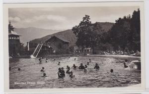79723 AK Warmbad Villach, Bassin - Bergpanorama mit badenden Menschen um 1940