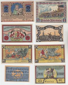 8 x Banknoten Notgeld Stadt Süderbrarup 1920 (111463)