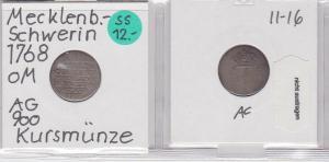 1 Schilling Silber Münze Mecklenburg-Schwerin 1768 (121187)