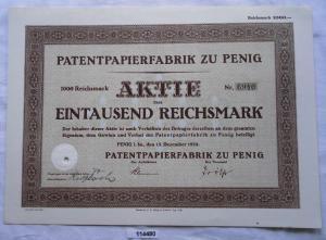 Aktie Patentpapierfabrik zu Penig 15.Dezember 1928 (114480)