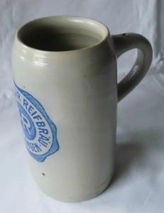 Alter Bierkrug Maßkrug Henninger Reifbräu Erlangen 1L um 1930 (111617)