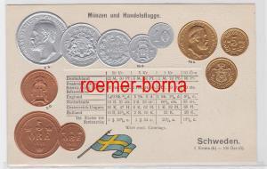 85923 Präge Ak mit Münzabbildungen Schweden um 1920