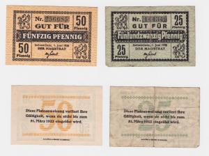 2 Banknoten Notgeld Stadt Swinemünde Świnoujście 1.06.1920 (122487)