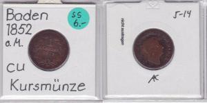 1 Kreuzer Kupfer Münze Baden 1852 (121360)