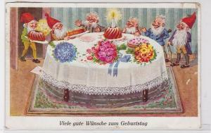 83054 Geburtstags Ak Zwerge versammelt um Geburtstagsfesttafel 1927