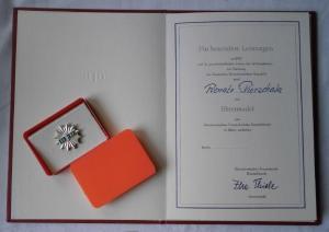 DDR Urkunde & Ehrennadel des DFD Frauenbund in Silber (118302)
