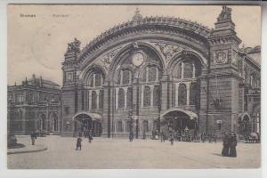 68106 Feldpost Ak Bremen Bahnhof mit Pferdefuhrwerk davor 1916