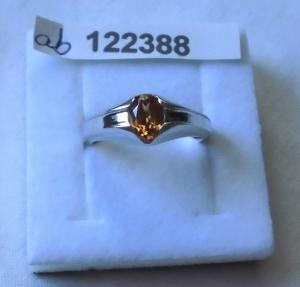 Bezaubernder Damen-Ring Silber 925 kleiner gelb-oranger Stein (122388)