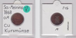 2 Pfennig Kupfer Münze Sachsen-Meiningen 1868 (120638)