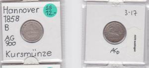 1 Groschen Silber Münze Hannover 1858 B (121058)