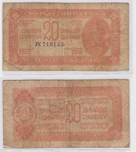 20 Dinar Banknote Jugoslawien 1944 (121555)