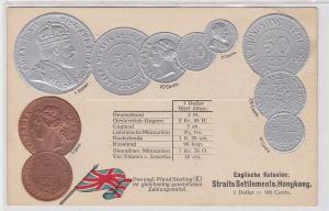 77033 Präge Ak mit Münzabbildungen Straits Settlements Hongkong um 1910