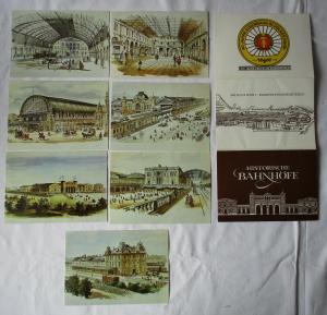 Ansichtskartenmappe mit 7 Karten Historische Bahnhöfe (94580)
