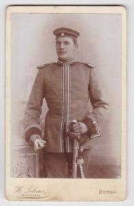 83953 Kabinett Foto Karabinier Borna mit Säbel um 1915