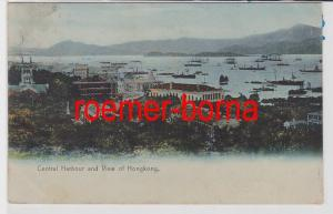 85901 Ak Central Harbour ans View of Hongkong um 1910