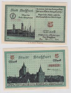 5 Mark Banknote Notgeld Stadt Staßfurt 1.10.1918 (121119)