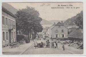 70853 Feldpost Ak St.Kreuz im Elsass Bahnhofstrasse 1914