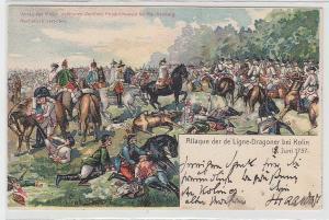 68873 Ak Attaque der de Ligne-Dragoner bei Kolin 1757, um 1900