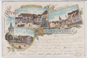 79117 AK Gruss aus Niederzwehren - Total, Gastwirtschaft, Kirche & Schule 1899