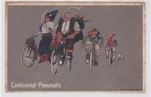 90590 Reklame Humor Ak Continental Pneumatic Radausflug um 1914