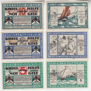 2, 5, 10 Mark Banknoten Notgeld Hamburg Erholungsstätten Gesellschaft (116200)