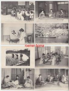 77203/8 Ak Japan Damen im Reisfeld, bei Handarbeiten, Kindergarten usw. um 1910