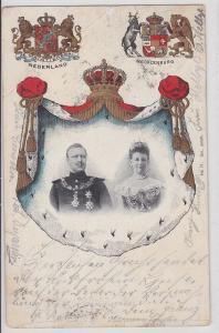 91050 Wappen Ak adlige Vermählung zwischen Niederlande und Mecklenburg 1901