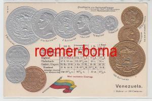 78788 geprägte Ak mit Münzen von Venezuela um 1900