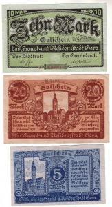 5, 10 und 20 Mark Banknoten Haupt- & Residenzstadt Gera um 1919 (112961)
