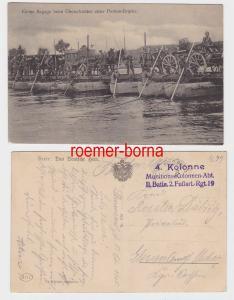 81523 Feldpost Ak kleine Bagage beim Überschreiten einer Ponton Brücke 1915