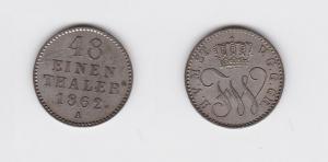 1/48 Taler Silber Münze Mecklenburg Strelitz  1862 A (119330)