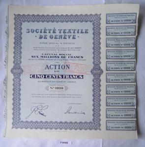 Seltene Aktie Société textile de Genéve 500 Francs 27.Januar 1936