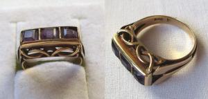Hübscher 585er Gold Ring mit 3 schönen Amethysten (112384)