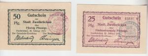 25 und 50 Pfennig Banknoten Notgeld Stadt Zweibrücken 1917 (102683)