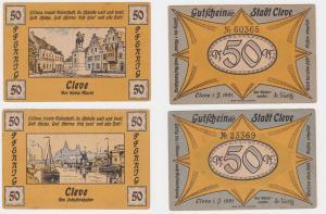 2 x 50 Pfennig Banknoten Notgeld Stadt Cleve 1921 (122016)