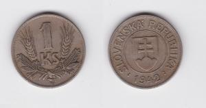 1 Krone Nickel Münze Slowakei 1942 (119898)