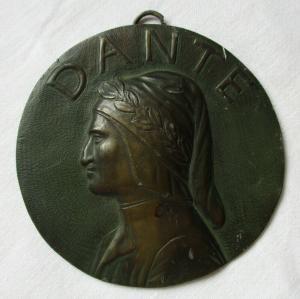 Künstlerische antike Bronze Plakette Dante Alighieri - ital. Dichter (120968)