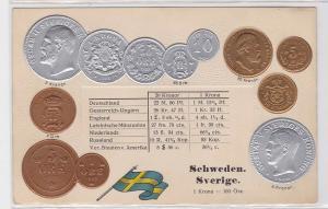 92346 Präge Ak mit Münzabbildungen Schweden um 1910