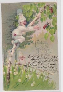 90536 Glückwunsch AK Fröhliche Pfingsten - 2 Zwerge sammeln Maikäfer 1903