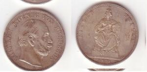 Schöne Silber Münze 1 Siegestaler Preussen 1871 ss+ (105150)