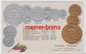 73613 Präge Ak mit Münzabbildungen Venezuela um 1920