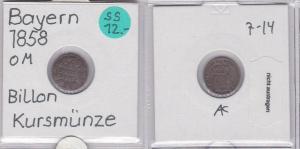 1 Kreuzer Billon Münze Bayern 1858 (121715)
