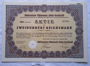 Aktie Hildebrandsche Mühlenwerke AG Böllberg bei Halle 1929 (117207)