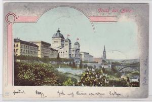 85972 AK Gruss aus Bern - Bundeshaus mit Schweizerflaggen 1901