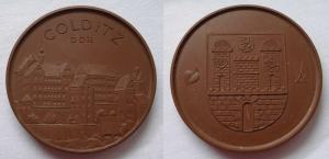 DDR Porzellan Medaille Wappen Colditz Böttger Steinzeug Meissen (124197)