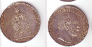 Schöne Silber Münze 1 Siegestaler Preussen 1871 ss+ (105476)