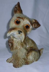 Schöner alter Rauchverzehrer Porzellan Hund Höhe 21 cm um 1930 (118828)